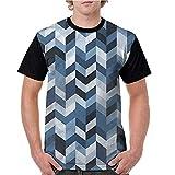 Men's Baseball Short Sleeves,Navy,Zigzag Twisty Lines S-XXL Casual Blouses Baseball Tshirts Top
