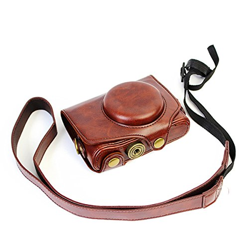 CEARI Leather DSLR Camera Case Bag with Neck Strap for Canon Powershot SX720 HS Digital SLR Camera - Coffee -  4332068671
