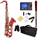 Mendini B-Flat Tenor Saxophone, Red Lacquered and Tuner, Case - MTS-RL+92D