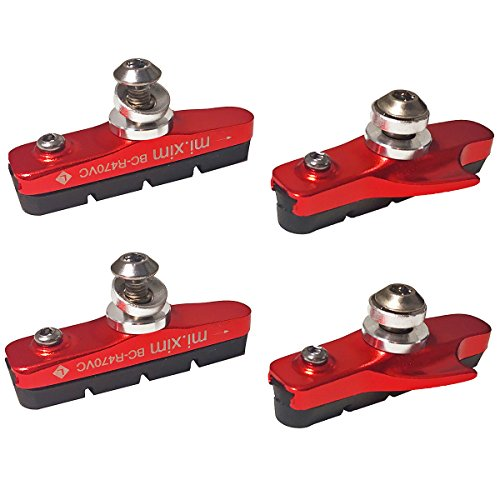 Pioneeryao Sport Road Bike Cycle Bicycle Brake Pads Block 2 Pairs (Red) (Best Road Bike Brake Pads)