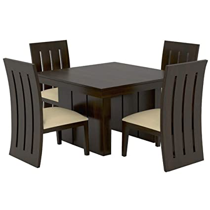 Monika Wood Furniture Sheesham Wood Dining Table 4 Seater Dinning Table With 4 Chairs Including Cream Cushions Dining Room Furniture Walnut Finish Amazon In Electronics