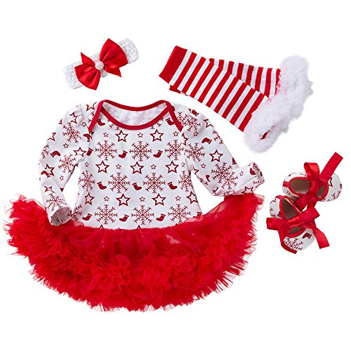 Baby Christmas Party Dresses 4PCS Newborn Infant Toddler Girls Princess Snowflake Tutu Dress Outfits Set by-Leegor]()