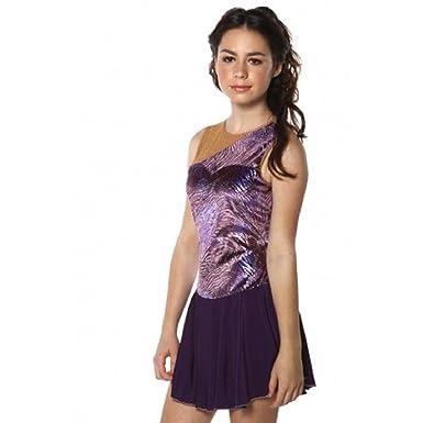 Amazon.com: Vestido de patinaje con figuras, color morado, M ...