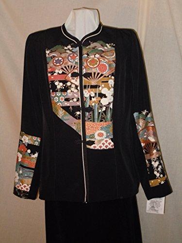 Women's silk jacket from Japanese kimono black blazer #F33 by First Fruits Apparel