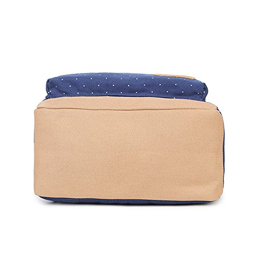 Lace Backpack Shoulder Dot Pcs Canvas Casual Backpacks Girls Blue Lightweight Geometry Dark Pencil Bag Laptop for Set Backpack Teen 3 Young Case School Bag rwIAqr4