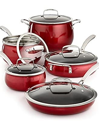 Belgique | High End Quality Home Cookware | 11 Piece Pot And Pan Set | Red