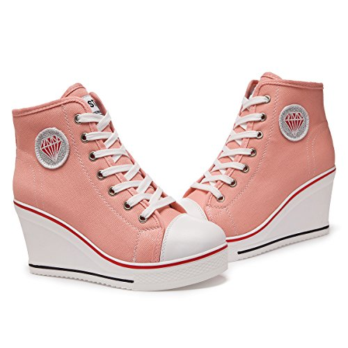 ... Padgene Damen Sneaker hochhackige Fashion Canvas Schuhe High Pump Lace  UP Wedges Seitlicher Reißverschluss Schuhe Rosa ...