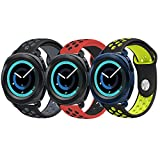 Gear Sport Band, KADES Soft Silicone Band Breathable Strap Compatible for Galaxy Watch 42mm/ Garmin VivoActive 3/ Ticwatch 2/ Ticwatch E/Amazfit Bip Smart Watch- Black/Gray, Black/Yellow, Red/Black