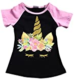 Dreamer P Big Girls' Short Sleeve Glitter Unicorn Floral Summer Raglan Top T-Shirt Tee Black 6 XL (P201508P)
