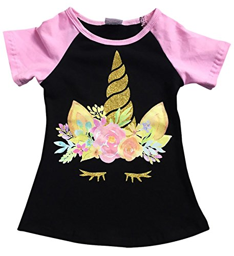Dreamer P Big Girls' Short Sleeve Glitter Unicorn Floral Summer Raglan Top T-Shirt Tee Black 8 XXXL (Glitter Floral Tee)