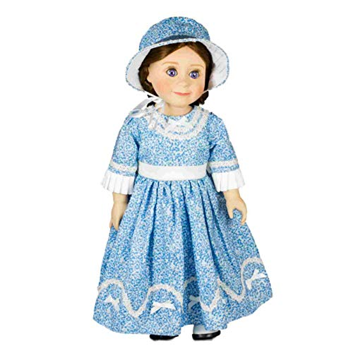 The Queen's Treasures Historic 1800's Style Blue Sunday Dress & Hat. 18 Inch Doll Gown Outfit with Reusable Plastic Hanger. Fits American -