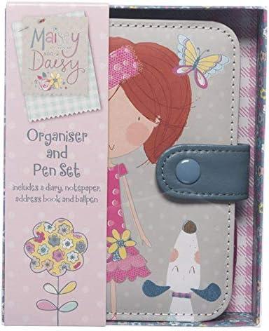 WHSmith Maisey /& Daisy Organiser /& Pen Set Hard Case Button Closure With Diary