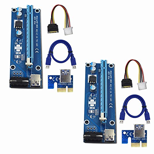 Raycity 2 Pack Pci E Pci Express Ver 006 16X To 1X Powered Riser Adapter Card W  60Cm Usb 3 0 Extension Cable   4 Pin Molex To Sata Power Cable Gpu Riser Adapter   Ethereum Mining Eth