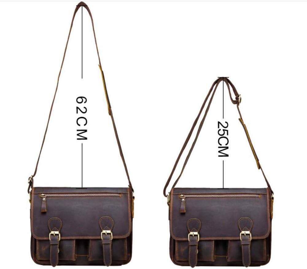 331025cm Durable Crazy Horse Leather Retro Casual Messenger Bag Laptop Bag Briefcase Business Bag Brown Briefcase