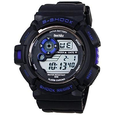 BesWLZ Multi Function Military S-shock Sports Watch LED Analog Digital Waterproof Alarm Blue