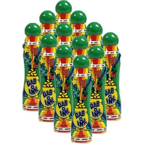 One Dozen 3oz Dab-O-Ink Green Bingo Dauber