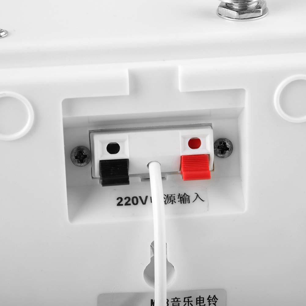 Duradero pr/áctico montado en la Pared Timbre USB multifunci/ón MP3 con m/úsica para escuelas Empresas Empresa Oficina M/úsica M/úsica Campana pl/ástico