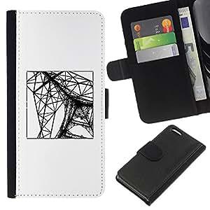 Be-Star la tarjeta de Crédito Slots PU Funda de cuero Monedero caso cubierta de piel Para Apple Iphone 5C ( Eifel Tower Paris Construction Engineer )