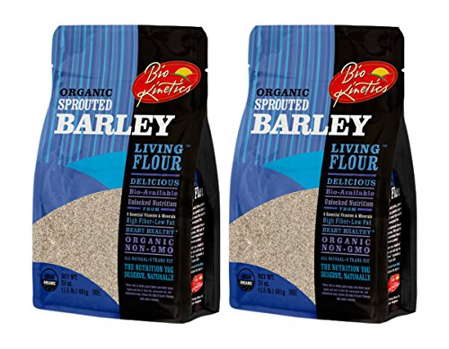Organic, Sprouted Barley Flour, Non-GMO, Bio-Available with a Great Taste (24 oz) - Pack of 2 by Bio-Kinetics