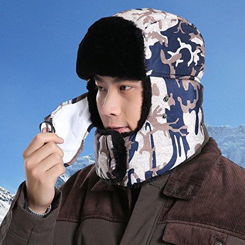 Prueba A Flap Para Hombre Ear SOOCO Viento Mujer Sombrero BlueGrayCamouflage Bombardero Esquí Máscara Invierno De Sombrero Winter Unisex De Cálido wFqRnnAZ