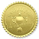 Employee of The Month Trophy Gold Foil Certificate Seals, 2 Inch, Self Adhesive, 102 Count