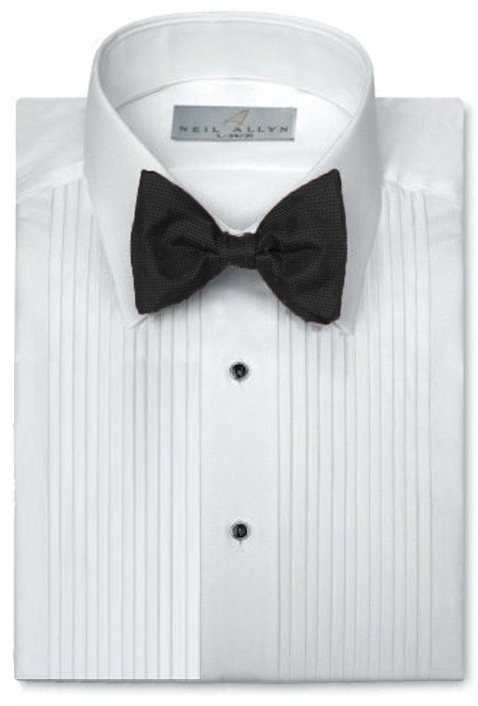 Neil Allyn Mens Tuxedo Shirt Poly/Cotton Laydown Collar 1/4 Inch Pleat (14.5 X 32-33)White by Neil Allyn