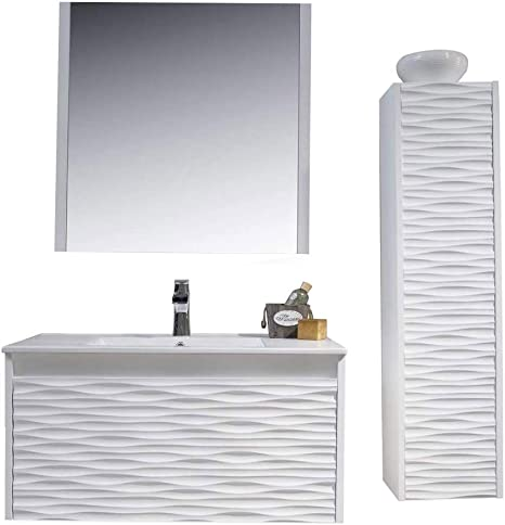 Amazon Com 36 Inch White Bathroom Vanity With Sink All Wood Floating Bathroom Vanity With Sink 36 Inch Mirror 12 Inch Side Cabinet Kitchen Dining