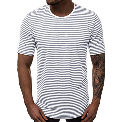 Bsjmlxg Men's Summer Fashion Casual Striped Slim Fit Printed O-Collar Short Sleeve Sport Fitness Basic Cool T-Shirt Tops Gray
