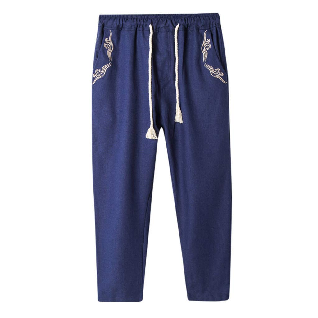 27e7698d96 wodceeke Men Casual Beach Trousers, Cotton Linen Embroidered Loose Trousers  Harem Pants Summer Pants at Amazon Men's Clothing store: