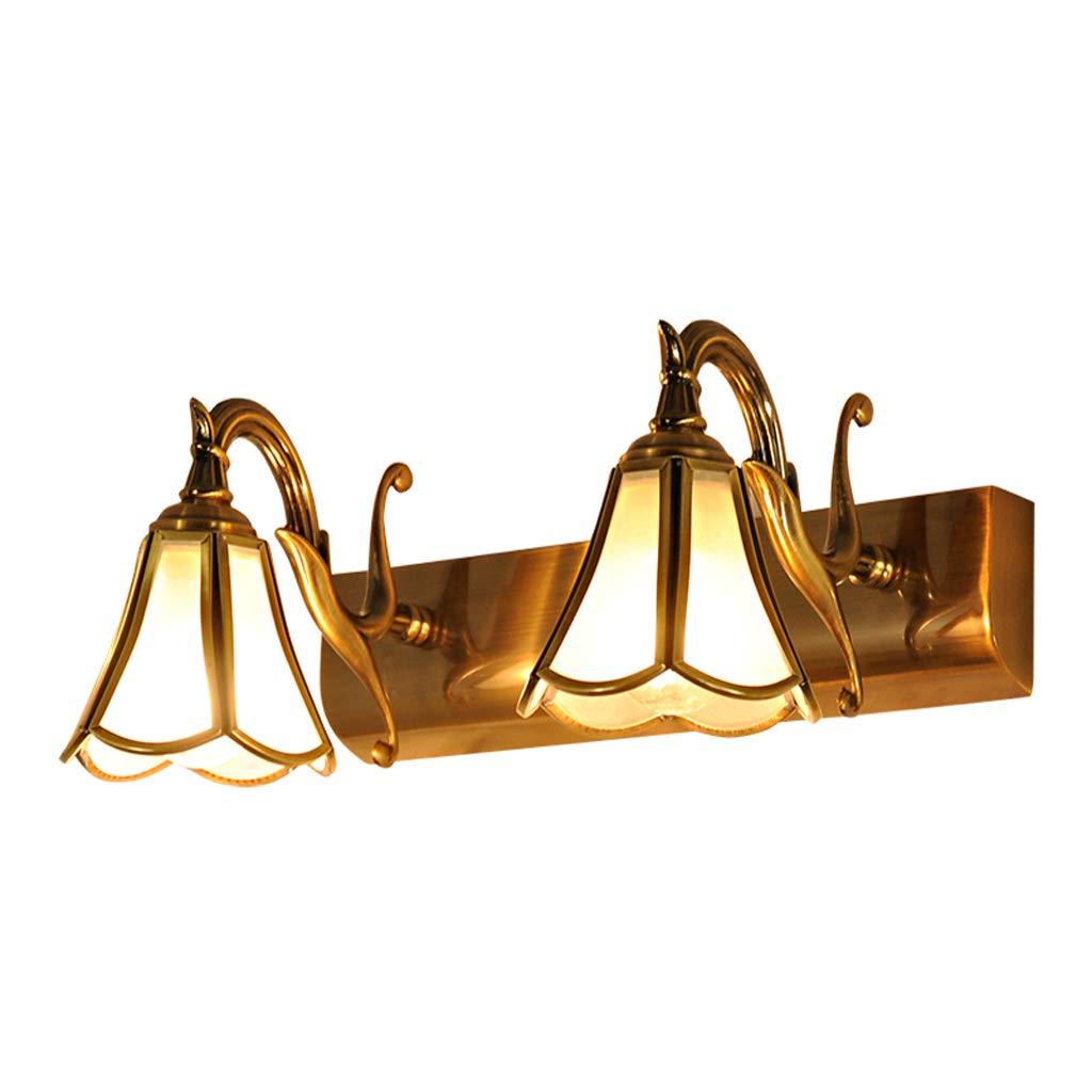 FJH Europäische Badezimmer LED Vollkupferspiegel Scheinwerfer Toiletten Spiegelschrank Lampen Retro Bronze Scheinwerfer (Größe   Two heads)