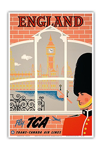 England - Queen's Guard, Big Ben, Parliament Building - Fly TCA (Trans-Canada Air Lines) - Vintage Airline Travel Poster by Jacques Le Flaguais c.1950s - Master Art Print - 13in x 19in (Trans Tca Airlines Canada)