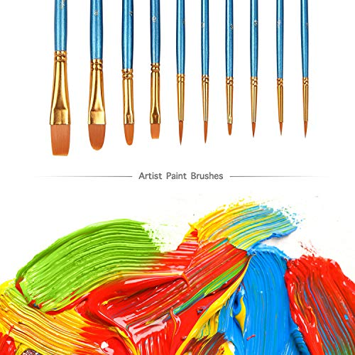 Paint Brush Set, 50 pcs/5 Pack Nylon Hair Brushes for All Purpose Acrylic Oil Ink Watercolor Face Painting Artist Professional Paintbrush Kits by ALOOK (Image #1)