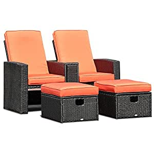 Adumly Set of 3PCS Patio Furniture Reclining Recliner Set Adjustable Backrest Rattan Ottoman