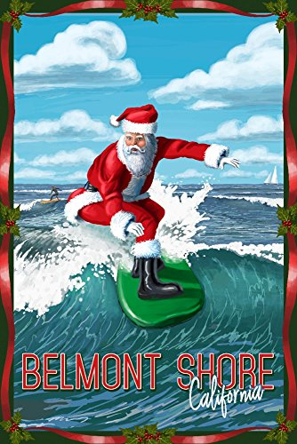 Belmont Shore, California - Santa Surfing (16x24 SIGNED Print Master Giclee Print w/ Certificate of Authenticity - Wall Decor Travel - California Shore Belmont