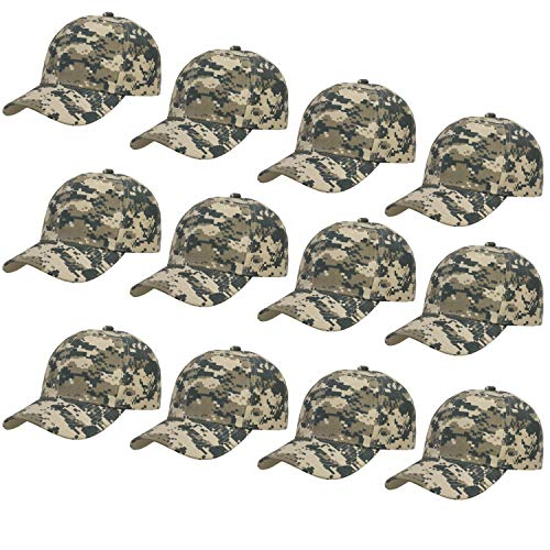 12-Pack Bulk Sale Plain Baseball Cap Adjustable Size Solid Color (Digital Camo)