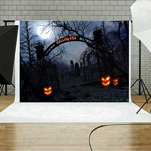 MOKO-PP Halloween Backdrops Pumpkin Vinyl 5x3FT Lantern Background Photography Studio F(F)