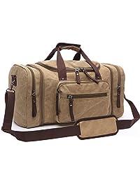Canvas Duffel Bag, Aidonger Vintage Canvas Weekender Bag Travel Bag Sports Duffel with Shoulder Strap ( Khaki)