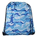 Camo Drawstring Tote Backpack | Wholesale Cinch Bags for Hunting, Hiking, Party Favors - By Mato & Hash - 50PK Sky Blue Camo CA2630