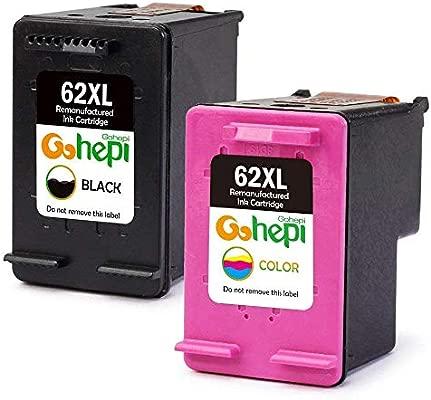 Gohepi Remanufacturados HP 62XL 62 Cartuchos de tinta Pack de 2 Negro/Tricolor para HP Envy 5540 5544 5546 5640 5642 5644 7640 5646 5542, HP OfficeJet ...