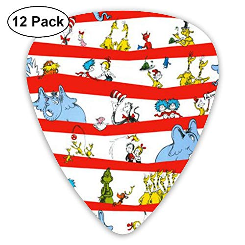 JSYAGSJ Guitar Picks Variety Pack Electric Guitar Printed Celebrate Seuss Character Stripe White Red Pattern 12 Pack -