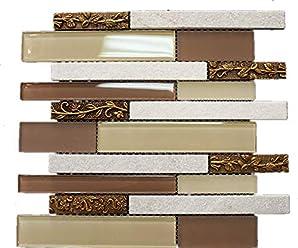 Tile Generation TMSG-04 Honey Onyx Marble /& Antique Copper Mosaic Tile Sheet Sample Swatch