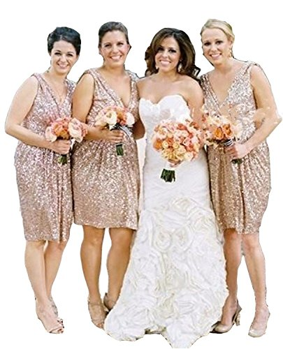 Gold Plus Short Prom Size Gowns Ruffled Dress Neck Sequin Dressyu Bridesmaid V nqFEx0wBPC