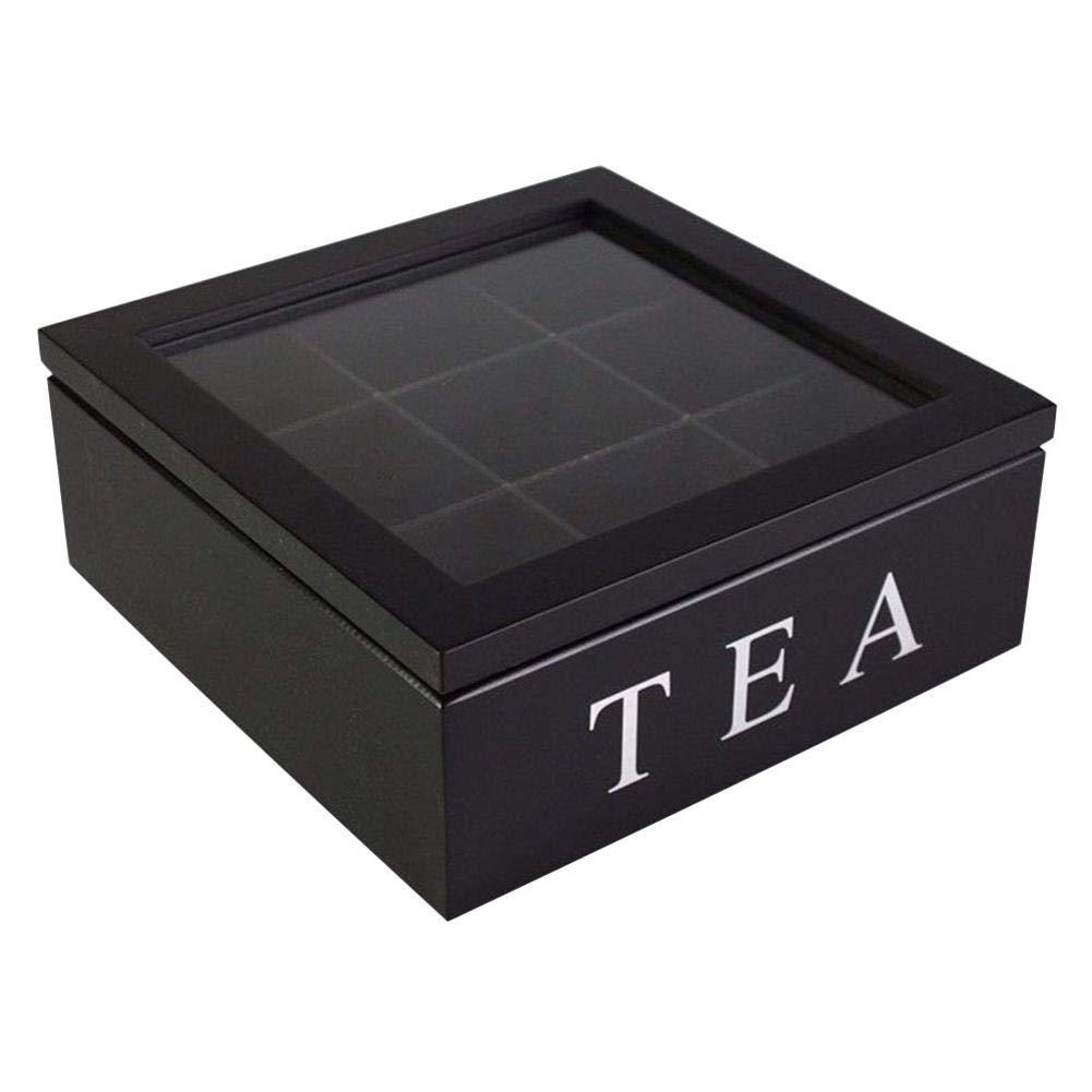 Wooden Tea Storage Chest 9-Compartment Tea Coffee Storage Box Teabag Box Holder Storage Organizer with Dividers
