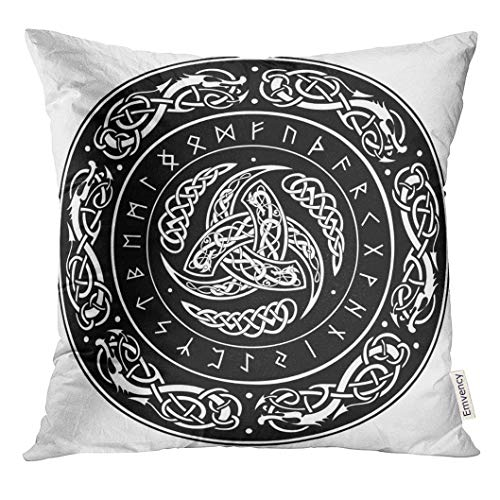 Uwwrticm Throw Pillow Cover Norse Triple Horn of Odin Decorated with Scandinavic Ornaments and Runes Mythology Celtic Decorative Pillow Case Home Decor Square 18x18 Inches Pillowcase
