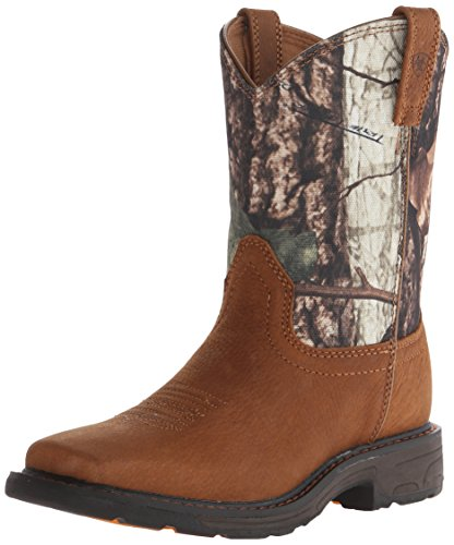 Kids' Workhog Wide Square Toe Western Cowboy Boot, Aged Bark/Camo, 10.5 M US Toddler