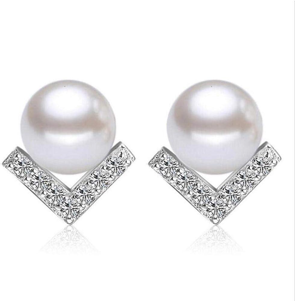 Pendiente925 perlas de temperamento de plata esterlina Pendientes de cristal con forma de V en forma de triángulo para joyería de moda femenina