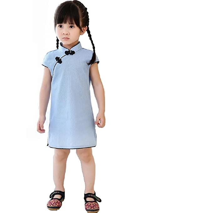 Amazon Com Hooyi Chinese Style Baby Girls Dress Solid Color Vintage