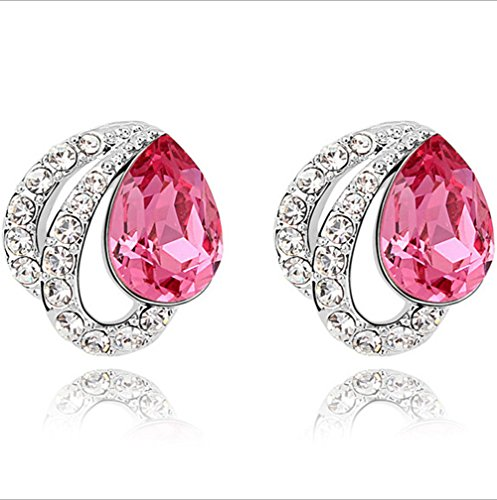 [C.H Angle Women's Austria Water-drop Shaped Crystal Earrings Color Pink] (Princess Tiny Feet Costume)