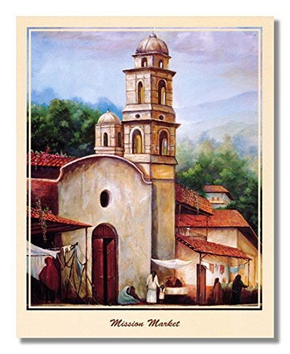 Mission Lodge Arts - Mexican Mission Market Spanish Landscape Wall Picture Art Print