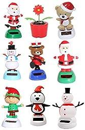 Set of 9~ Santa/ Snowman/ Bear/ Poinsettia Flower/ Elf/ Penguin Assorted Christmas Solar Powered Toy Perfect Christmas Holiday Gift US Seller